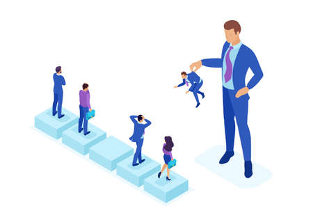 Isometric Bright concept personnel change, the big boss keeps the employee the rest are afraid. Concept for web design. Illustration