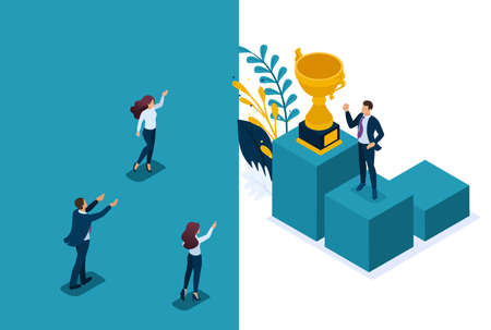 Isometric Bright concept site Leadership qualities. Employees rejoice in the success teamwork. Concept for web design.