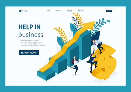 Isometric Helping Hand. Large business helps small business development. Website Template Landing page. Illustration