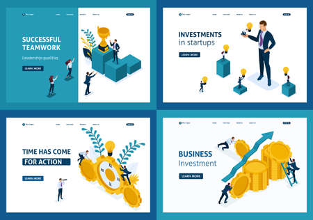Set Template Landing page, Isometric concept successful teamwork, investment in startups, business, time has come for action.