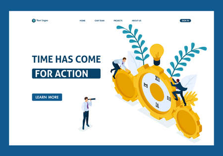 Isometric Businessmen climb the clock, cooperation for success. Website Template Landing page.