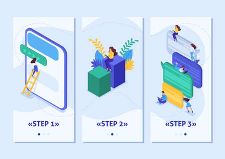 Isometric Template app Internet users write feedback about services, smartphone apps. Easy to edit and customize.