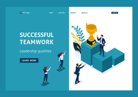 Isometric Leadership qualities. Employees rejoice in the success teamwork. Website Template Landing page.