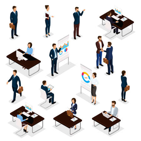 Business people isometric set of men and women in the office business suits isolated on a white background. Vector illustration.