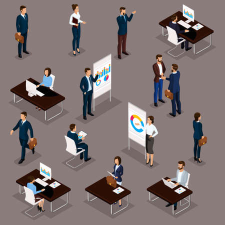 Business people isometric set of men and women in the office business suits isolated vector illustration.