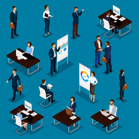 Business people isometric set of men and women in the office business suits isolated on a blue background. Vector illustration.