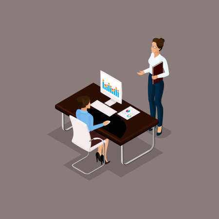 Business people isometric set of men and women in the office business concept isolated on gray background vector illustration. Vettoriali