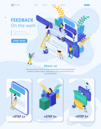 Isometric Website Template Landing page Internet users write feedback about services. Adaptive 3D.