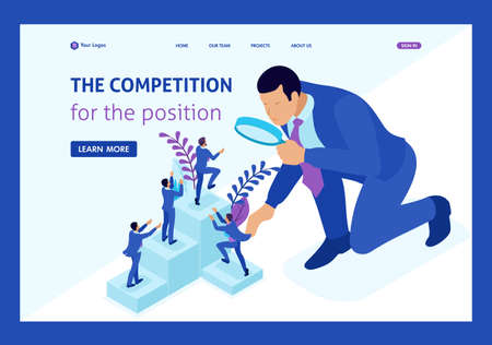 Isometrischer Wettbewerbskampf um Karrierewachstum, Geschäftsmann betrachtet Kandidaten durch eine Lupe. Zielseite der Website-Vorlage. Vektorgrafik