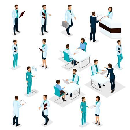 Impostare i pazienti e i chirurghi 3D isometrici del personale ospedaliero dell'ospedale Ospedale di esperti di salute isolato su priorità bassa bianca. Illustrazione vettoriale.