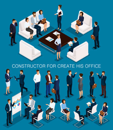 Business people isometric set to create his illustrations meeting with men and women in corporate attire isolated on a dark background vector illustration. Vectores