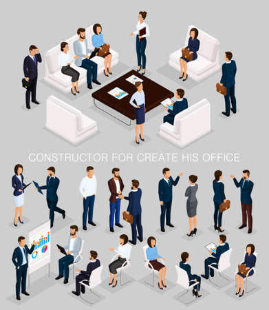 Business people isometric set to create his illustrations meeting with men and women in corporate attire isolated on a gray background vector illustration.