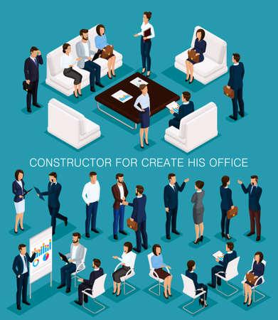 Geschäftsleute isometrischer Satz, um seine Illustrationen zu erstellen, die sich mit Männern und Frauen in Firmenkleidung treffen, die auf einer blauen Hintergrundvektorillustration lokalisiert werden. Vektorgrafik
