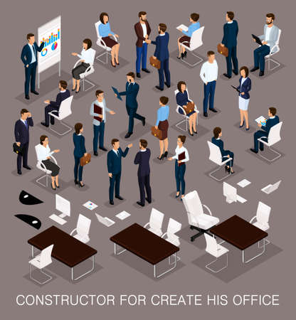 Business people isometric set for creating your office with the men and women in corporate attire isolated on a dark background vector illustration.