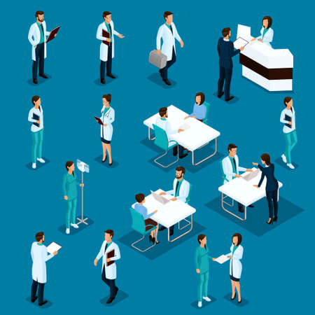 Set Isometric Doctors Hospital Staff Nurse 3D surgeons and patients. Health experts hospital isolated on a blue background. Vector illustration. Illustration