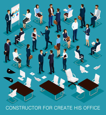 Business people isometric kit for creating your office with the men and women in corporate attire isolated on a blue background vector illustration.
