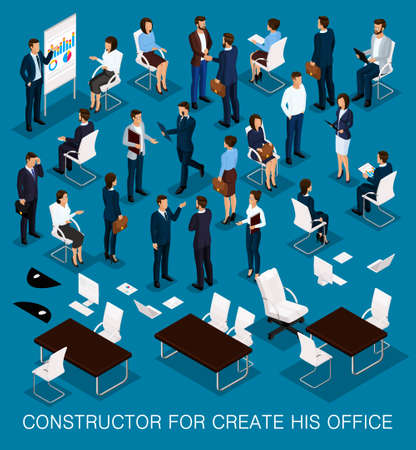 Business people isometric kit for creating your office with the men and women in corporate attire isolated on a dark blue background vector illustration. Illustration