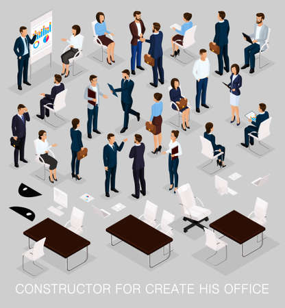 Business people isometric kit for creating your office with the men and women in corporate attire isolated on a light background vector illustration.