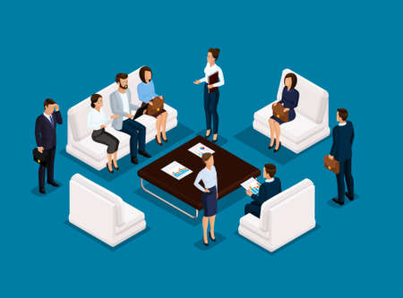 Business people isometric set of men and women in corporate attire meeting, brainstorming isolated on a dark blue background vector illustration.