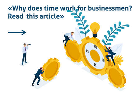 Isometric Bright Template banner article Time has come for action. Businessmen climb the clock, cooperation for success. Illustration