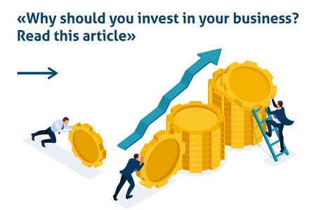 Isometric Bright Template banner article Business investment in business development, entrepreneurs build savings.