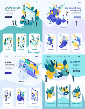 Set Template Landing page, app design, Isometric concept cooperation teamwork, help in success, business process, social networking.
