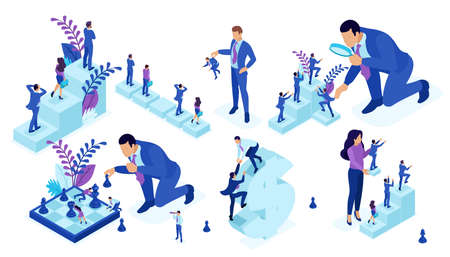 Isometric set of business big businessman running, playing chess, creates strategy. Vector people. Ilustración de vector