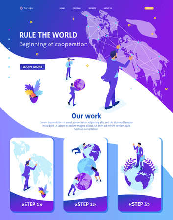 Isometric Website Template Landing page Big businessman running the world, world map. Adaptive 3D.