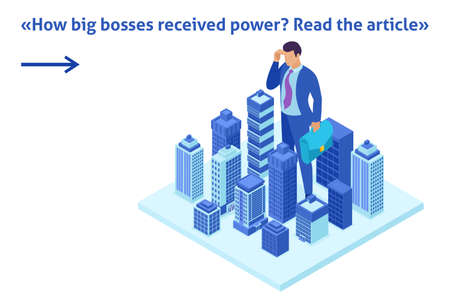 Isometric Bright Template banner article Big businessman looks down at the city, the concept of power. Standard-Bild - 125131063