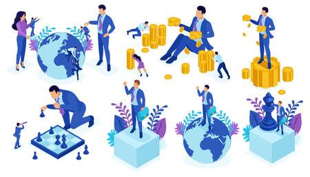 Impostare il design del modello, il lavoro di squadra di successo del concetto isometrico, gli investimenti nelle startup, gli affari, è giunto il momento dell'azione. Vettoriali