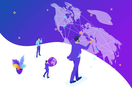 Isometric Bright concept site concept Big businessman running the world, world map. Concept for web design. Illustration