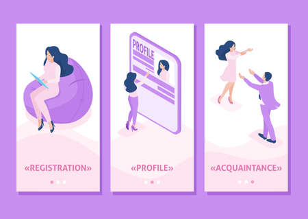 Isometric Template app Isometric Template app acquaintance, love, meeting, people connect parts of a big heart, smartphone apps.