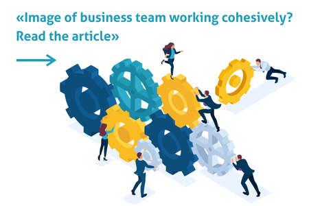 Article de bannière de modèle lumineux isométrique Image conceptuelle de l'équipe commerciale travaillant de manière cohérente. Interaction et unité. Vecteurs