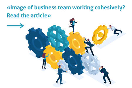 Isometric Bright Template banner article Conceptual image of business team working cohesively. Interaction and unity.