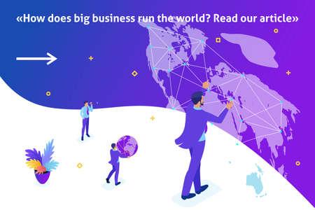 Article de bannière de modèle lumineux isométrique Grand homme d'affaires qui dirige le monde, carte du monde.