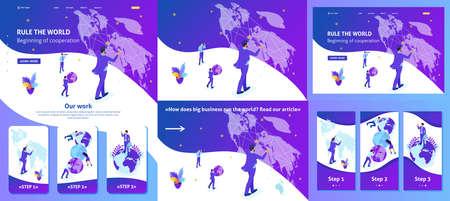 Establecer artículo de plantilla, página de destino, diseño de aplicaciones, concepto isométrico Gran empresario corriendo el mundo, mapa del mundo. Ilustración de vector