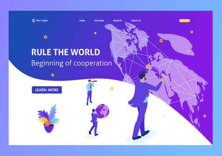 Isometric Big businessman running the world, world map. Website Template Landing page. Illustration