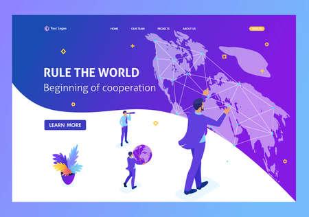 Isometric Big businessman running the world, world map. Website Template Landing page. Illustration