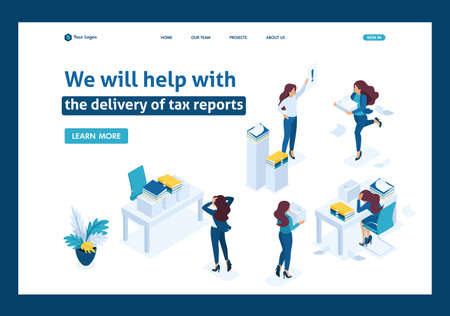Isometric The head of the audit company swears at subordinates, the delivery of the tax report. Website Template Landing page.
