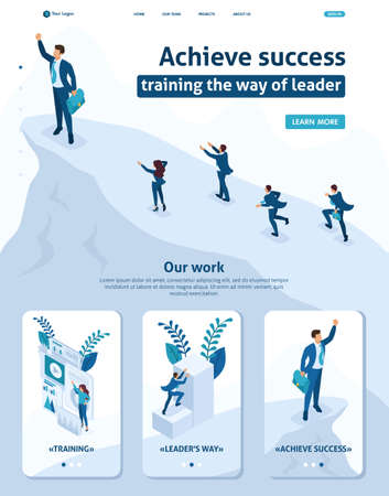 Isometric Website Template Landing page Big businessman at the top symbolizes leadership and success, people follow him. Adaptive 3D.
