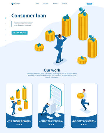 Isometric Website Template Landing page The man grabbed his head and looks at the amount of loans and their rates. Adaptive 3D.