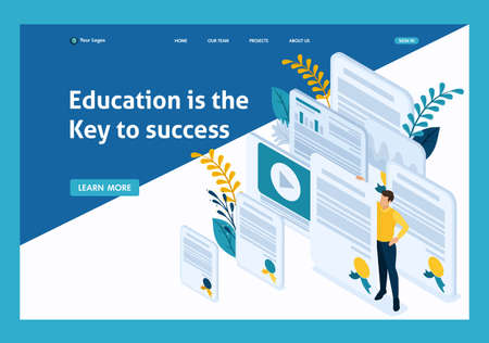 Isometric Conceptual education and coaching is the key to success. Diplomas and knowledge. Website Template Landing page.