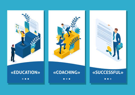 Isometric Template app Conceptual education and coaching is the key to success. Diplomas and knowledge, smartphone apps.