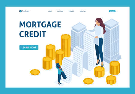 Isometric Registration and issuance of money secured by real estate, mortgage loan. Website Template Landing page. Illustration