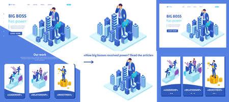 Définir l'article de modèle, la page de destination, la conception d'applications, le grand homme d'affaires isométrique regarde la ville, le concept de pouvoir.