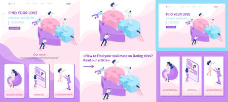 Set Template article, Landing page, app design, Isometric acquaintance, love, meeting, people connect parts of a big heart.