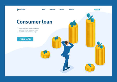 Isometric The man grabbed his head and looks at the amount of loans and their rates. Website Template Landing page. Ilustração