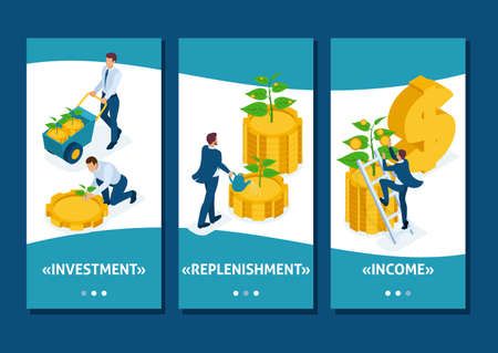 Isometric Template app Conceptual save and increase investment, capital, income growth, smartphone apps. 向量圖像