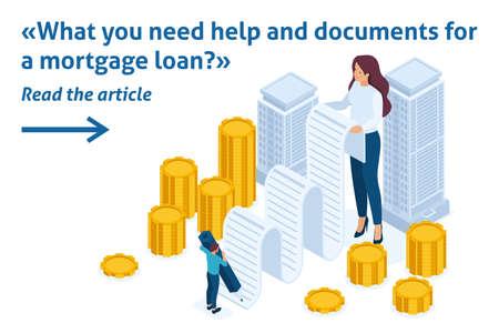 Isometrische helle Vorlage Bannerartikel Registrierung und Ausgabe von Geld, das durch Immobilien, Hypothekendarlehen gesichert ist.