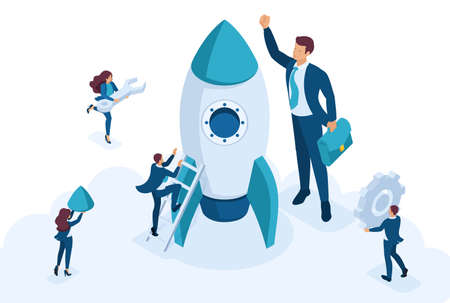 Isometric the concept development and startup business. Businessmen create a rocket. Concept for web design. 写真素材 - 124988075